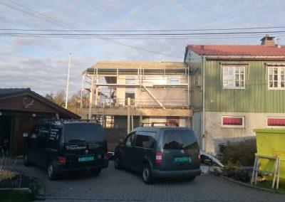 Pågående tilbygg på eksisterende bolig bolig Nedre Skjoldvei